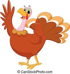 happy turkey cartoon waving