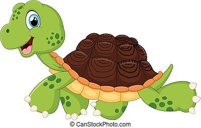 vector illustration of Happy turtle walking