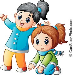 Happy two little girls - Vector illustration of Happy two...
