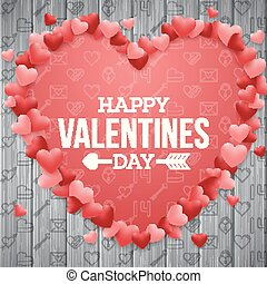 Happy valentines day background with bright red heart