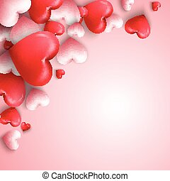 Happy valentines day background with hearts balloon in pink background
