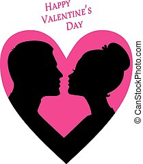 Happy Valentine's day, couple silhouette image