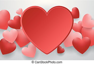 Happy valentines day with red heart on gray background