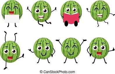 Happy Watermelon Cartoon Character