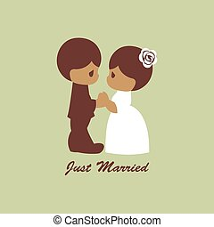 Vector illustration of happy wedding day card
