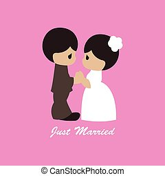 Vector illustration of happy wedding day figures