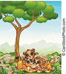 Happy wild animal cartoon in the jungle
