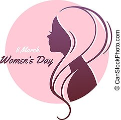 Happy Women Day pink background - Vector illustration of...