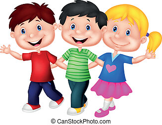 Happy young children cartoon - Vector illustration of Happy...