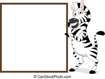 Happy Zebra With Wooden sign