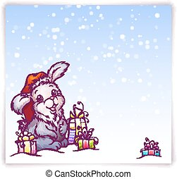 Vector illustration of hare in Christmas hat