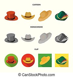 Vector illustration of hat and cap icon. Collection of hat and model stock symbol for web.