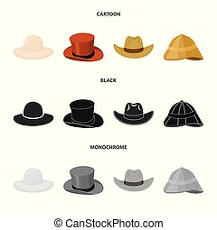 Vector illustration of hat and cap icon. Set of hat and model stock symbol for web.