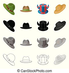 Vector illustration of hat and cap sign. Collection of hat and model stock symbol for web.