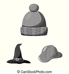 Vector illustration of hat and helmet sign. Collection of...