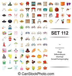 Vector illustration of hat,furniture, home,interior, farm, drug, different bicycle cleaning canada thanksgiving day icon set.