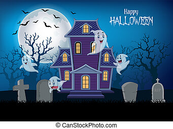 Haunted house and ghost with halloween background
