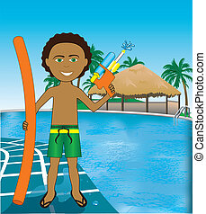 Pool Mixed Afro Boy - Vector Illustration of Hawaiian Pool...