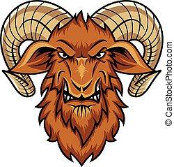 head goat mascot cartoon