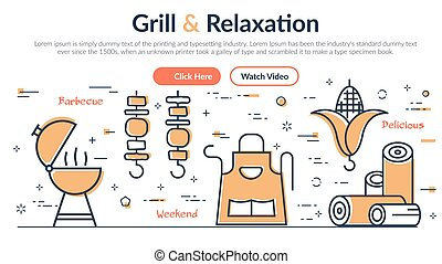 Vector illustration of header Grill and Relaxation