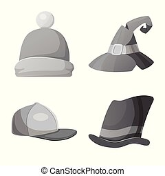 Vector illustration of headgear and cap sign. Set of...