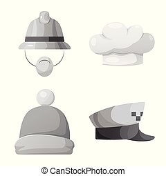 Vector illustration of headgear and cap symbol. Collection...