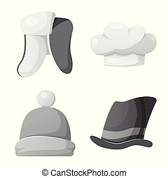 Vector illustration of headwear and cap sign. Set of...