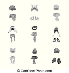 Vector illustration of headwear and fashion icon. Collection...