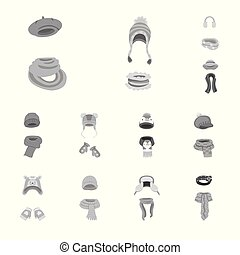 Vector illustration of headwear and fashion icon. Set of...