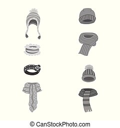 Vector illustration of headwear and fashion logo. Set of...