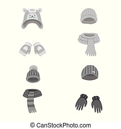 Vector illustration of headwear and fashion sign. Collection...