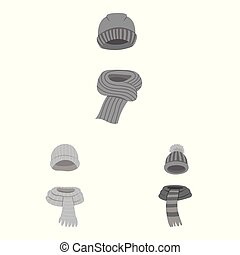 Vector illustration of headwear and fashion symbol. Set of...