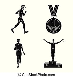 Vector illustration of health and fitness icon. Set of health and sprint stock vector illustration.