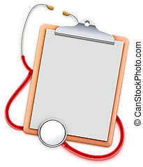 Vector illustration of healthcare concept with clipboard and red stethoscope