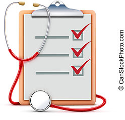 Vector illustration of healthcare concept with cool check list on clipboard and red stethoscope