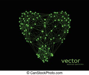 Vector illustration of heart on black background