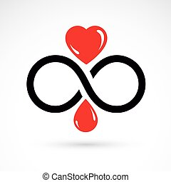 Vector illustration of heart shape and infinity symbol. ...