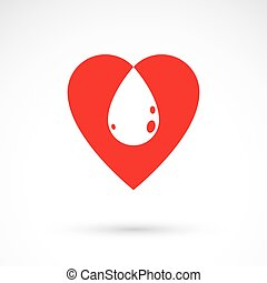 Vector illustration of heart shape and drops of blood....