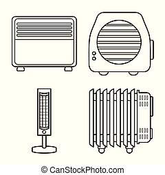 Vector illustration of heating and equipment symbol. heating and household stock symbol for web.