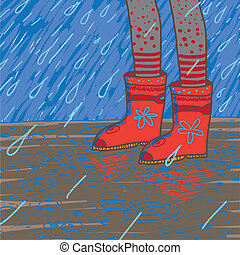vector illustration of heavy rain, rubber boots - vector...