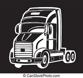 Vector illustration of heavy truck isolated on black.