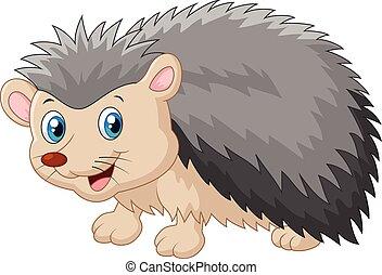 Hedgehog cartoon was looking to the - Vector illustration of...