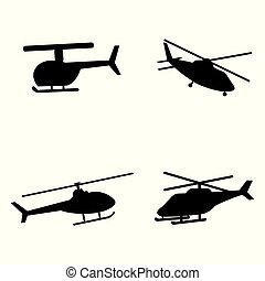 Vector illustration of helicopter silhouettes on white background