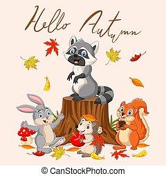 Hello autumn background with wild animals