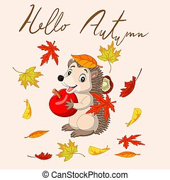 Hello autumn with leaves and cute hedgehog holding red apple