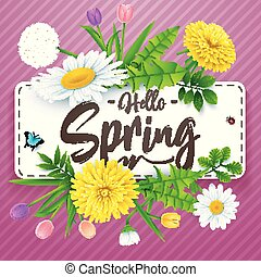Hello Spring background with beautiful flower and insects on striped purple background
