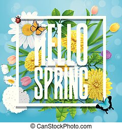 Hello Spring background with flower and insects on blue sky background