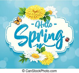Hello Spring background with flower, ladybug, and butterfly on blue sky background