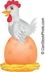 Hen cartoon with giant egg