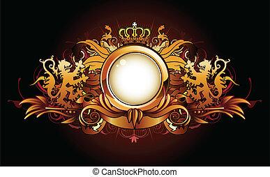 heraldic golden frame - Vector illustration of heraldic...